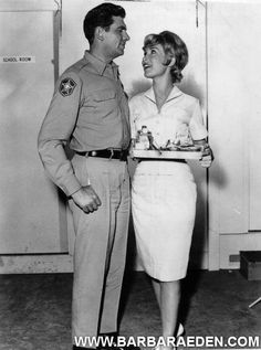 "Andy & I on set during production of The Andy Griffith Show episode, ""The Manicurist."" -Barbara"
