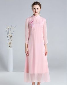 VIPme (VIPSHOP Global) - FMOJD Pink Paneled Cheongsam Embroidered Sheath Maxi Dress - AdoreWe.com
