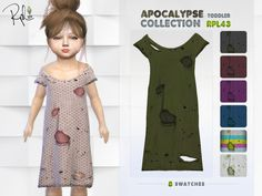 RobertaPLobo's Apocalypse Toddler Collection RPL43 Sims Baby, Sims 4 Toddler, Toddler Dress, Toddler Outfits, Kids Outfits, Sims 4 Challenges, Sims Packs, Creepy Kids, Sims 4 Dresses