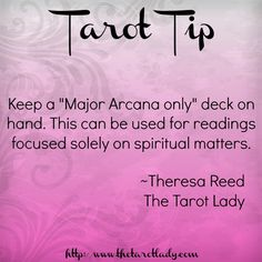 """Tarot Tip 12/16/14: Keep a """"Major Arcana only"""" deck on hand. This can be used for readings solely on spiritual matters. Tarot tips. #tarot #tarottips"""