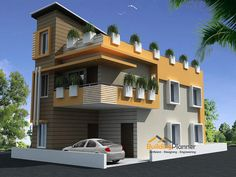 BuildingPlanner is experts in designing home / house plans, we have a group of top architects in Bangalore. Our team of architects handled many residentail projects at affordable price. Unique House Design, House Front Design, Cool House Designs, Door Design, Indian House Plans, New House Plans, Modern House Plans, 3 Storey House Design, Bungalow House Design