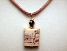 BORDER TERRIER Jewelry / Scrabble Pendant / Beaded / Charm / UPCYCLED