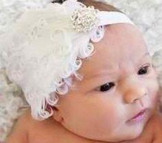 Holiday WHITE feathered jewel baby headband by ForeverTots on Etsy, $9.99