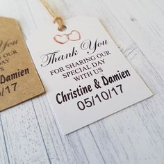 Thank You for Sharing our Special Day with Us Gift Labels, Personalised handmade Vintage Wedding Luggage label, Free Twine Supplied, by Handmadeskproducts on Etsy Wedding Labels, Wedding Favor Tags, Wedding Thank You, Gift Labels, Gift Tags, Wedding Venues, Wedding Ideas, Best Day Ever, Thank You Gifts