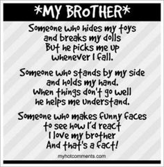Brother Love Quotes Brother Poems From Sister  Make Selection On Order Now Page