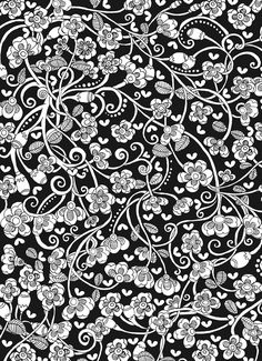 Creative Haven Midnight Garden Coloring Book: Heart & Flower Designs on a Dramatic Black Background