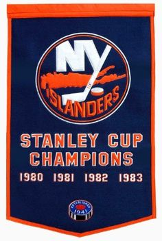 "NHL New York Islanders Dynasty Banner by Winning Streak. $58.50. The officially licensed 24"" x 36"" wool and acrylic New York Islanders Dynasty Banner from Winning Streak is decorated in the team colors and designed with the embroidered commemorative graphics celebrating the team's Stanley Cup® Championship years."