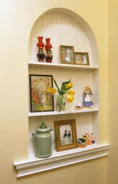 Home Remodeling Improvement Idea Alcoves Recessed Shelving Kit Wall Niche Ideas Décor Niche, Niche Decor, Wall Decor, Alcove Decor, Home Improvement Projects, Home Projects, Weekend Projects, Faux Murs, Altar