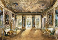 Dutch Room at Wilanów Palace circa 1850 Watercolor paintings by Willibald Richter in the National Museum in Warsaw