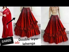 Diy: how to make double layer lehenga लेहंगा in 10 minutes Kurti Designs Party Wear, Lehenga Designs, Dress Neck Designs, Blouse Designs, Party Dress Tumblr, Circle Skirt Tutorial, Blouse Tutorial, Stitching Dresses, Long Gown Dress