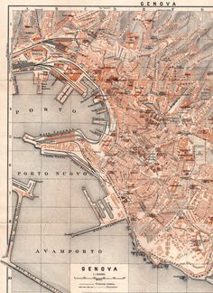 1928 Genova Italy Antique Map City Plan Genoa by Craftissimo