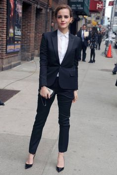 Emma Watson makes shows us how to make a menswear inspired suit look chic.