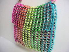 neon-colored nylon yarn: pink, orange, yellow, green and blue. Soda Tab Crafts, Can Tab Crafts, Crafts To Make, Diy Upcycling, Upcycle, Pop Top Crafts, Pop Tab Purse, Diy Purse, Pop Can Tabs