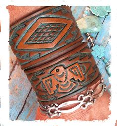 Tooled Leather Bracelet Leather Cuff Turquoise Bracelet by dgierat, $24.00