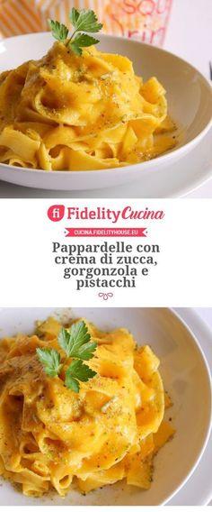 Pappardelle con crema di zucca, gorgonzola e pistacchi – Rezepte Italian Pasta, Italian Dishes, Italian Recipes, Pasta Recipes, Cooking Recipes, Salty Foods, Italy Food, Mediterranean Recipes, Pasta Dishes
