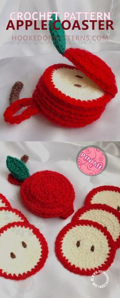 Apple Coaster Crochet Pattern - Crochet this coaster set - crochet fruit tableware - apple crochet pattern