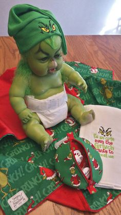 items similar to grinch baby blanket gift set infant beanie hat burp pacifier pod for babys grinchmas gift - Baby Grinch Halloween Costume