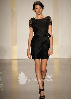 black lace boat neck sheath cocktail bridesmaid dress with cap sleeves