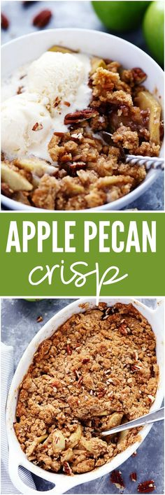 Apple Pecan Crisp is so easy to make and the perfect fall dessert! Crisp and tender apples with crunchy pecans hidden throughout and a buttery cinnamon sugar crumb topping!