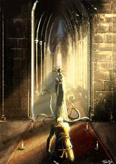 Dark Souls: Blade of the Darkmoon and Gwyndolin. Arte Dark Souls, Dark Souls 2, Demon's Souls, Dark Fantasy, Fantasy Art, Soul Saga, Dark Blood, Futuristic Art, Fantasy Places