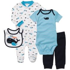 Carter's® Infant Boy 4-Piece Whale Outfit Set #VonMaur #Carters #BabyOutfit #BabyClothes #Whales