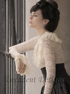 Victorian Lace Ruffle Top cream or blackMade to by decadentdesignz, $120.00