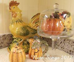 Pretty fall vignette in a kitchen corner. Note Songs
