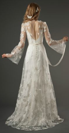 Elizabeth Fillmore's Evangeline Dress (back detailing) love the added butterfly hair accessories!!