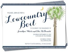 PRINTABLE - South Carolina Palmetto Moon Lowcountry Boil Invitation, Engagement, Rehearsal Dinner, Birthday, Anniversary Party via Etsy