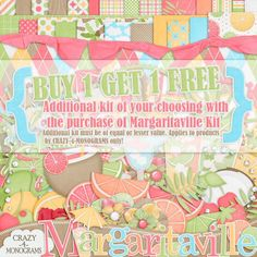 BOGO for only $1.50! Get a FREE kit of your choice when you purchase the Margaritaville kit from Crazy-4-Monograms #digiscrap #digitalscrapbooking