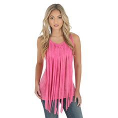 f04060151476f8 Rock 47® by Wrangler® Sleeveless Solid Top with Fringe at Center - Pink -