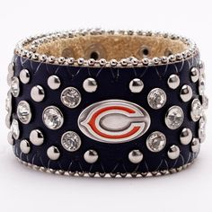 Waaaaaaaaant! Chicago Bears Ladies Glitz Leather Cuff Bracelet - Navy Blue