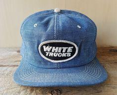 0763fab7d7356 Vtg 80s WHITE TRUCKS Denim Trucker Hat K Brand USA Snapback Baseball Cap  Patch  KBrand