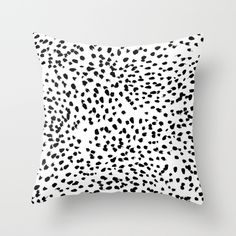 Nadia - Black and White, Animal Print, Dalmatian Spot, Spots, Dots, BW Throw Pillow by CharlotteWinter