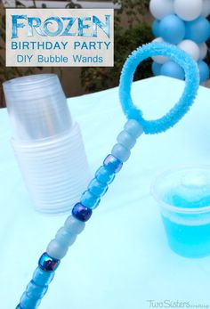 Disney Frozen DIY Bubble Wands - super easy to make and very pretty homemade bubble wands for a Disney Frozen Birthday Party. Great for a bubble station or to give away as Party Favors. For more great Frozen Party Ideas follow us at http://www.pinterest.com/2SistersCraft/