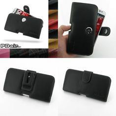 PDair Leather Case for LG Optimus G Pro F240 - Horizontal Pouch Type (Black)