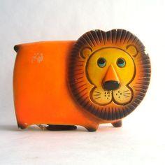 Mid Century Orange Lion Bank Figurine.