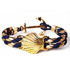 Gold & Navy Nautical Seashell Bracelet, Shelley Tide