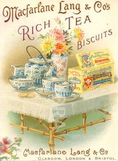 Advertising leaflet for Macfarlane Lang's Rich Tea Biscuits. (Chromolithographed advertising leaflet for Macfarlane Lang's Rich Tea Biscuits. Vintage Tee, Vintage Labels, Vintage Cards, Vintage Packaging, Vintage Postcards, Vintage Prints, Rich Tea Biscuits, Tee Kunst, Tea Labels