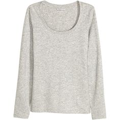 Pima Cotton Top $12.99 ($13) via Polyvore featuring tops, long sleeve tops, long sleeve jersey, pima cotton tops, jersey top and long sleeve jersey top