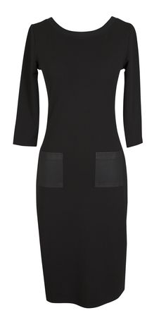 Formal black sleeve dress with leather pocket detail