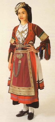 FolkCostume&Embroidery: Costume of the Karagouni, Thessaly, Greece Greek Traditional Dress, Traditional Fashion, Traditional Outfits, Gypsy Costume, Folk Costume, Folk Clothing, Historical Clothing, Greek Dancing, Greek Royalty