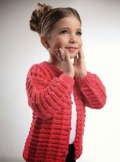 Coral jacket for a girl with knitting needles. Discussion on LiveInternet - Russian Online Diary Service Baby Knitting Patterns, Baby Sweater Knitting Pattern, Knitted Baby Cardigan, Knitting For Kids, Knitted Hats, Baby Sweaters, Girls Sweaters, Coral Jacket, Mega Fashion
