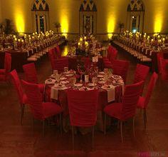 Red velvet seating with velvet burnout linens | #Eventures