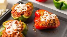 Stuffed Peppers made with Green Giant riced vegetables! Low Carb Hamburger Recipes, Low Carb Recipes, Cooking Recipes, Healthy Recipes, Paleo Ideas, Healthy Food, New Recipes For Dinner, Great Recipes, Favorite Recipes