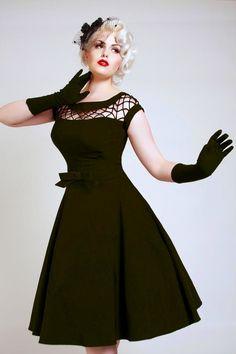 Bettie Page Clothing - 50s Alika black circle dress TATYANA