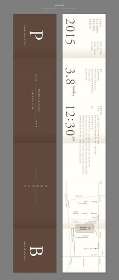 The wedding invitation card Baek In Chang + Park Joo Hyun wedding invitation design . Book Design Layout, Print Layout, Editorial Layout, Editorial Design, Dm Poster, Ticket Design, Collateral Design, Leaflet Design, Folder Design