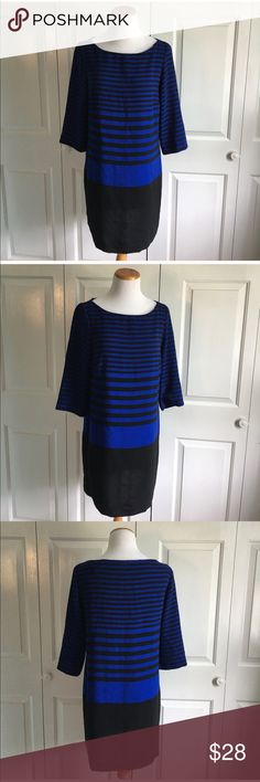 ZARA Blue Striped Shift Dress Black and blue strapped shift dress from Zara. Size medium. In excellent condition, no flaws. 3/4 sleeves. Zara Dresses