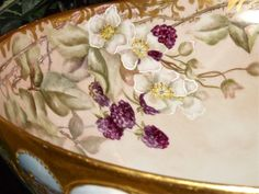 Limoges Gorgeous Blackberry Footed Punch Bowl with Heavy Gold Work