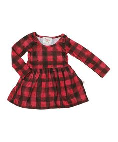 This Red & Black Buffalo Plaid A-Line Dress - Infant & Toddler is perfect! #zulilyfinds